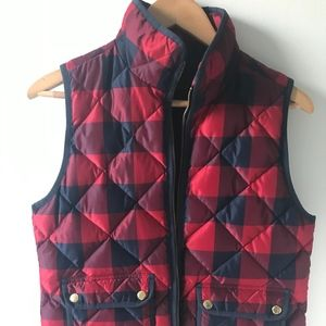 J. Crew Red and Navy Plaid Vest